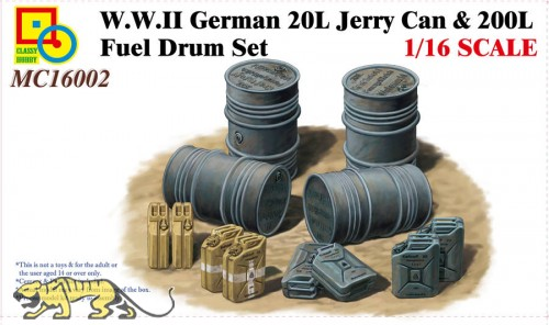 WWII German 20L Jerry Can & 200L Fuel Drum Set 1:16
