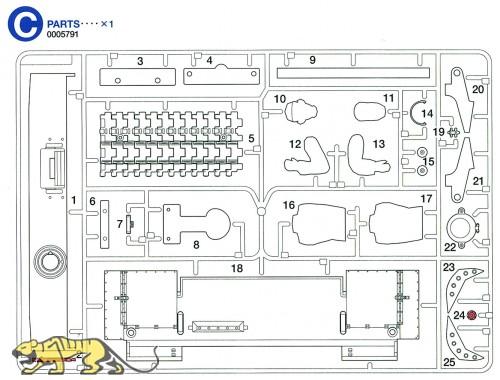 C Teile (C1-C25) für Tamiya Tiger I (56010) 1:16