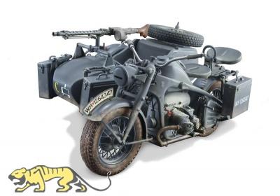Deutsche Wehrmacht Motorrad mit Beiwagen - Zündapp KS750 - 1:9