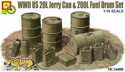WWII US 20L Jerry Can & 200L Fuel Drum Set - 1/16