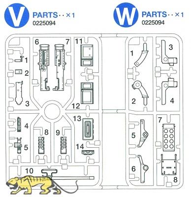 V/W Teile (V1-V14, W1-W8) für Tamiya 56014 / 56016 / 56032 / 56037 / 56043