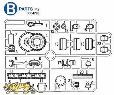 B Parts (B1-B23) for Tamiya Panzer IV Ausf. J (56026) 1:16