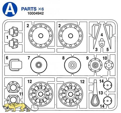 A Parts (A1-A14) for Tamiya KV-1 / KV-2 (56028, 56030) 1:16