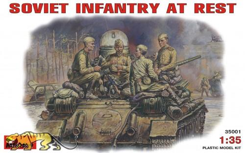 Sowjetische Infanterie bei der Pause - 4 Figuren - 1:35