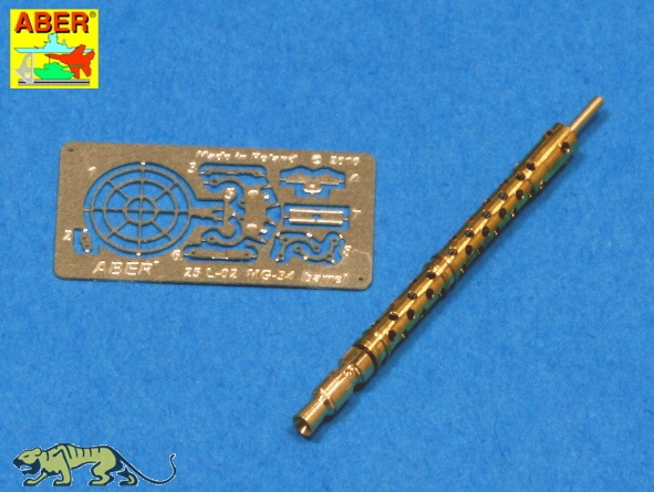 MG34 Barrel, brass turned, incl  photo-etched parts - 1:24 / 1:25
