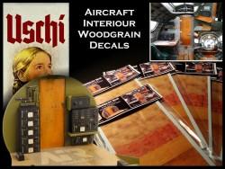 Holzstruktur - Decals / Abziebilder -  Flugzeug Innenräume