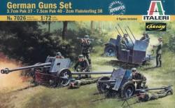 Wehrmacht Geschütz Set - 3,7cm PaK 37 - 7,5cm PaK 40 - 2cm Flakvierling 38 - 1:72
