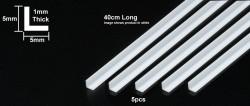 Plastikprofil - Klar / Transparent - L Profil - 5mm - 40cm - 5 Stück