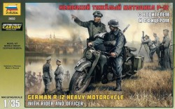 German Heavy Motorcycle R-12 - with Rider and Officer - 1/35