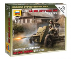Soviet 45mm Anti-Tank-Gun with Crew - 1/72