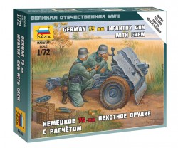 German 75mm Infantry Gun - with Crew - 1/72