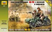 Sowjetisches Motorrad M-72 mit Seitenwagen und Besatzung