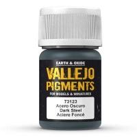 Vallejo Pigments 73123 Dunkler Stahl (Dark Steel), Pigment - 35ml