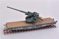 128mm Flak 40 auf Eisenbahnwaggon - Fertigmodell - 1:72