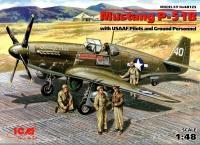 Mustang P-51B - mit USAAF Piloten und Bodenpersonal - 1:48
