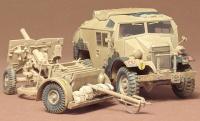 Britisches 25 Pfd. Geschütz und Quad Gun Tractor