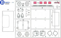 B-Parts (B1-B18) for Tamiya Sherman Series 56014 and 56032 1:16