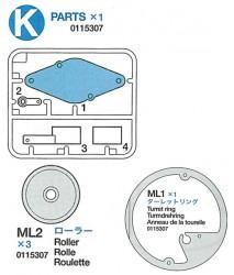 K Teile (K1-K4), Turmdrehring (ML1) und Rolle (ML2 x3)
