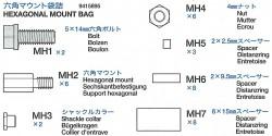 Sechskantschrauben und Halterungsbeutel (MH1-MH7) für 56016
