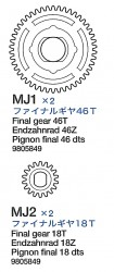 Ausgangszahnräder 46 Zahn und 18 Zahn (MJ1-MJ2) für 56016