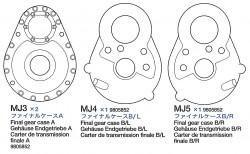 Getriebegehäuse A, B/L, B/R (MJ3-MJ5) für Tamiya 56016