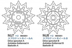 Antriesbrad A & B (MJ7-MJ8) für Tamiya M26 Pershing (56016)