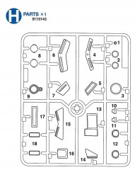 H Parts (H1-H18) for Tamiya Leopard 2A6 (56020) 1:16