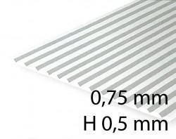 Verkleidungsplatte V-Rille 0,75 mm / H 0,5 mm