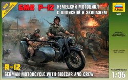German Motorcycle R-12 with Sidecar and Crew - 1/35