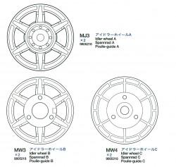 Idler wheels A,B,C (MJ3, MW3-MW4 x2) for Tamiya 56018
