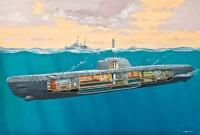 Deutsches U-Boot Typ XXI mit Innendetails - 1:144