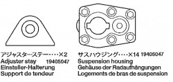 Housing (14x) and Adjuster Stay (2x) Tamiya 56002, 56003, 36207, 36208