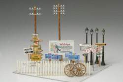 Zubehör-Set für Dioramen - Straßenschilder, Telegrafenmasten, Straßenlaternen, Zäune - 1:48