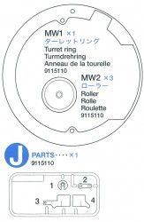 J Parts (J1-J4), Turret Ring (MW1), Roller (MW2 x3) for 56010